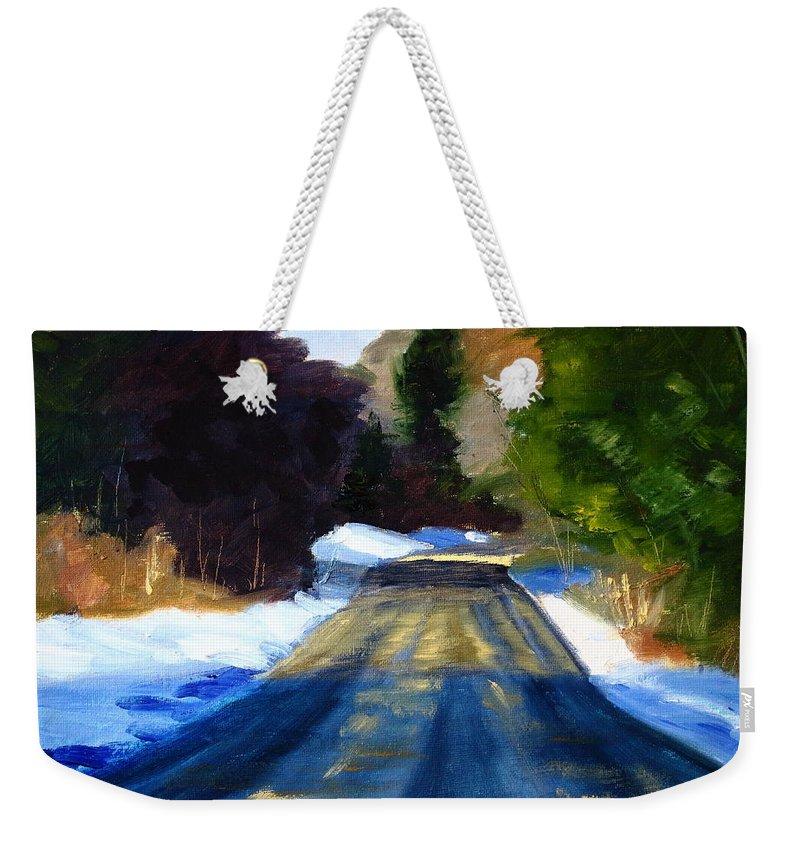 Oregon Weekender Tote Bag featuring the painting Winter Light by Nancy Merkle