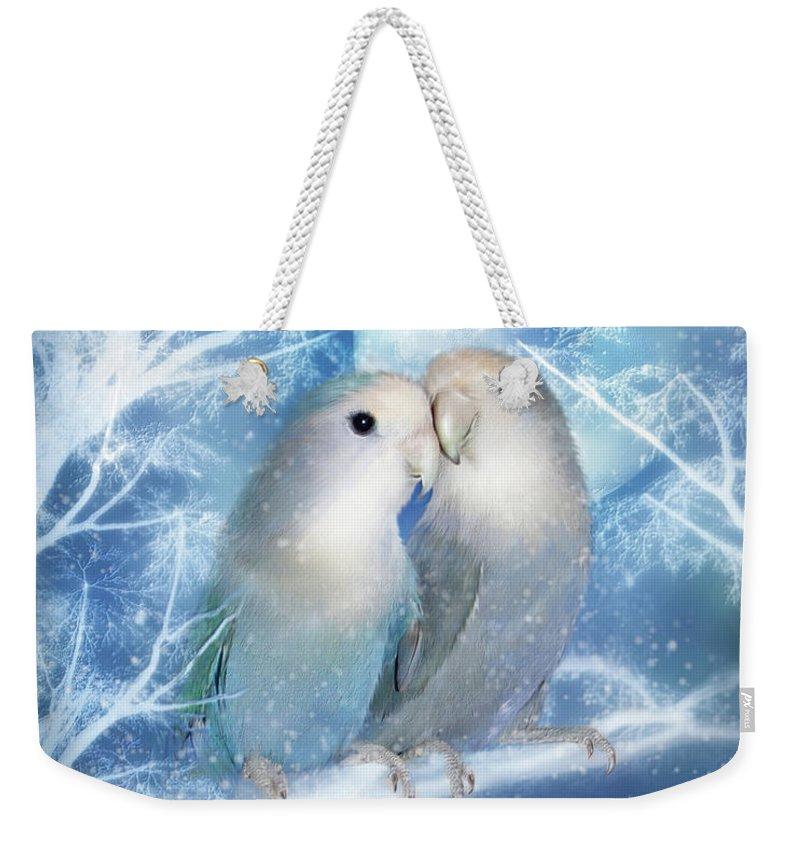 Lovebirds Weekender Tote Bag featuring the mixed media Winter Love by Carol Cavalaris