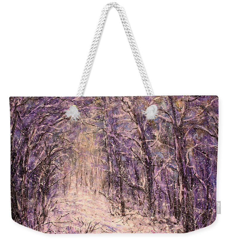Winter Weekender Tote Bag featuring the painting Winter Magic by Natalie Holland