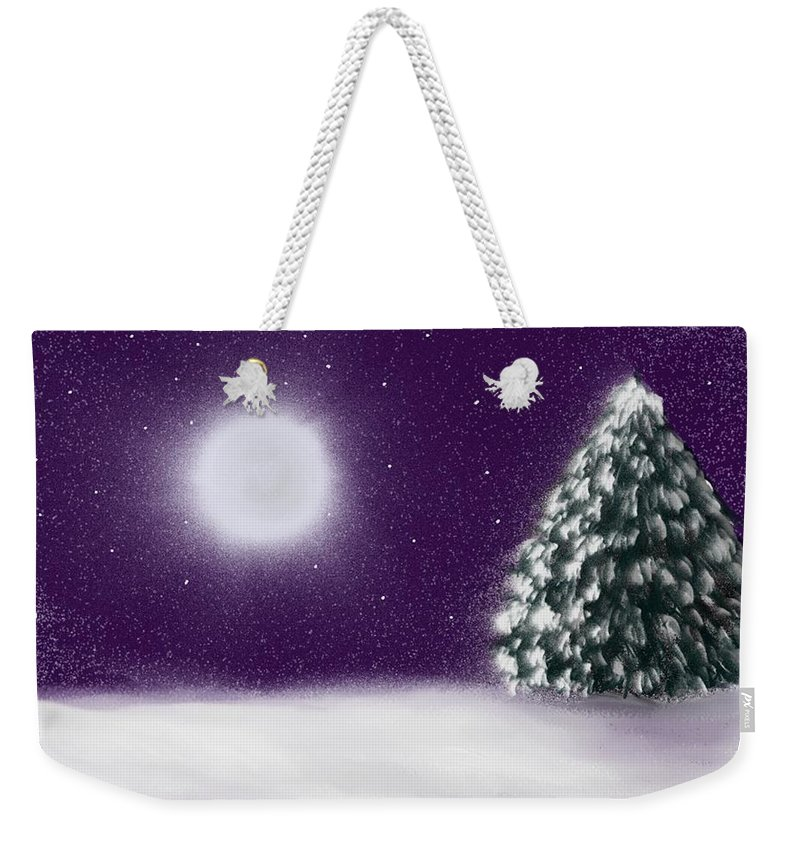 Tree Weekender Tote Bag featuring the painting Winter Moon by Roxy Riou