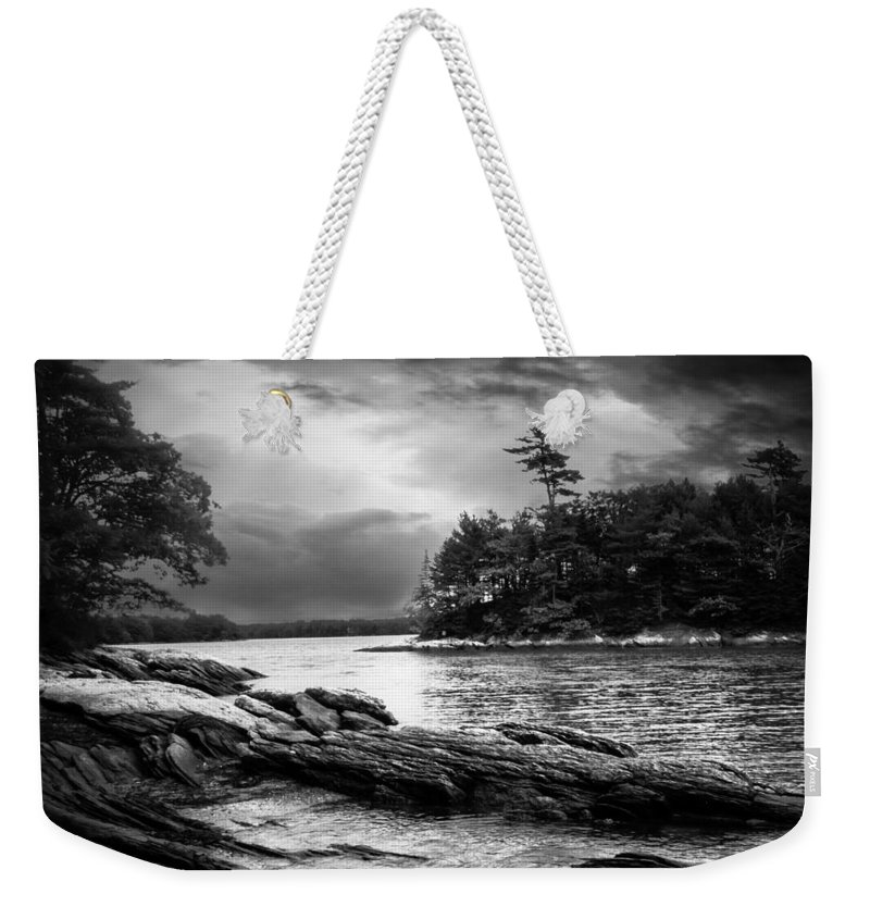 Shore Weekender Tote Bag featuring the photograph Winter Moonlight Wolfes Neck Woods Maine by Bob Orsillo