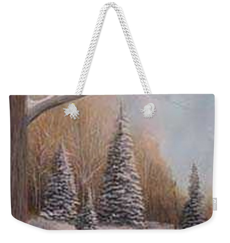 Rick Huotari Weekender Tote Bag featuring the painting Winter Morning by Rick Huotari