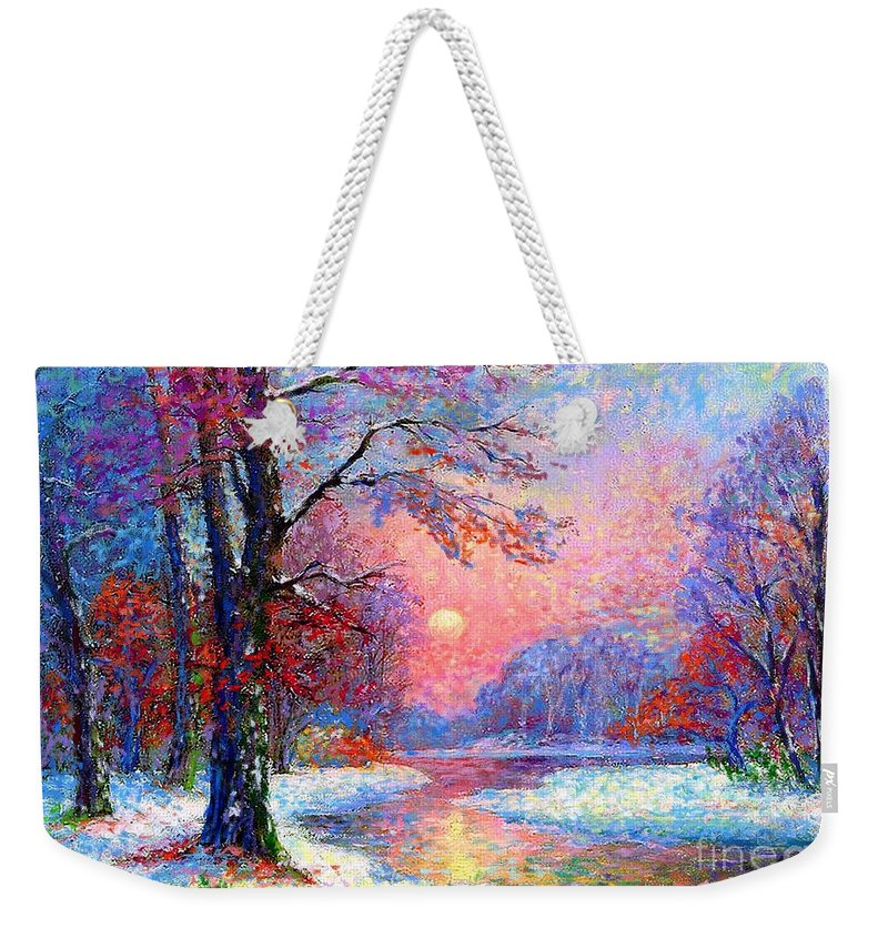 Tree Weekender Tote Bag featuring the painting Winter Nightfall, Snow Scene by Jane Small