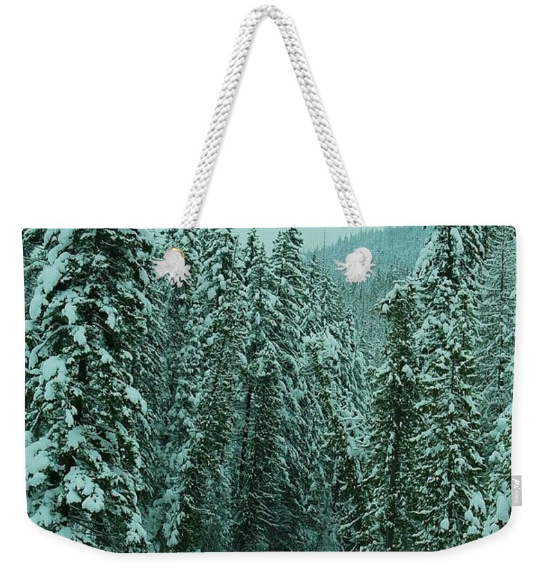 Rivers Weekender Tote Bag featuring the photograph Winter On The American River by Jeff Swan