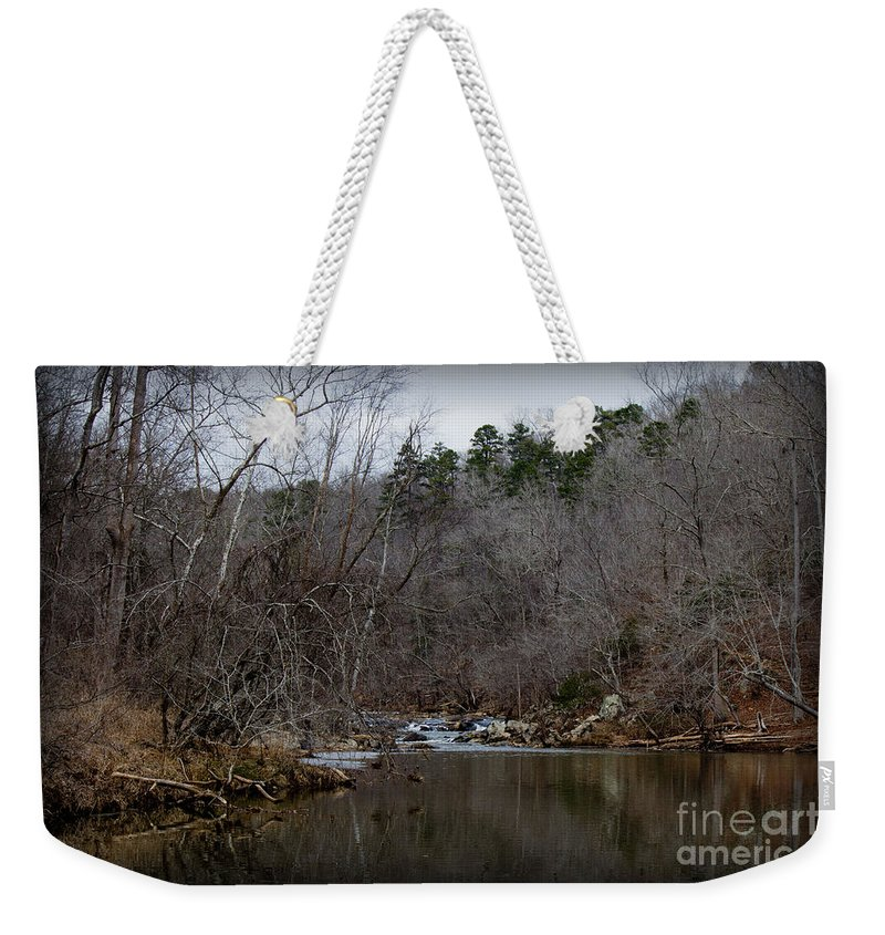 Fall Weekender Tote Bag featuring the photograph Winter On The Eno River At Fews Ford by Sandra Clark