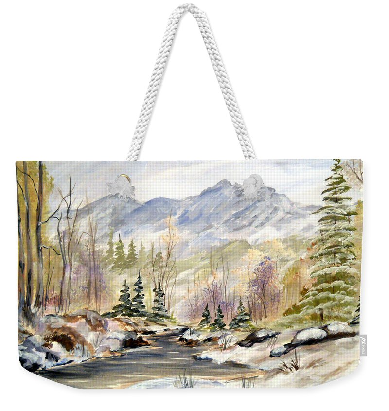 Winter Weekender Tote Bag featuring the painting Winter On The River by Dorothy Maier