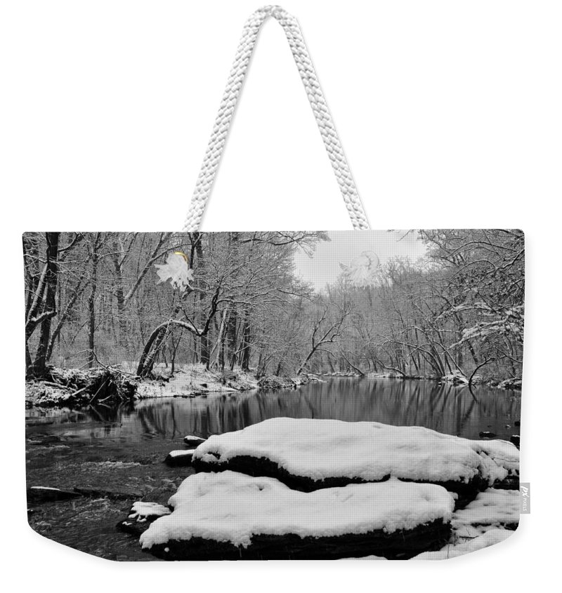 Winter On The Wissahickon Creek Weekender Tote Bag featuring the photograph Winter On The Wissahickon Creek by Bill Cannon