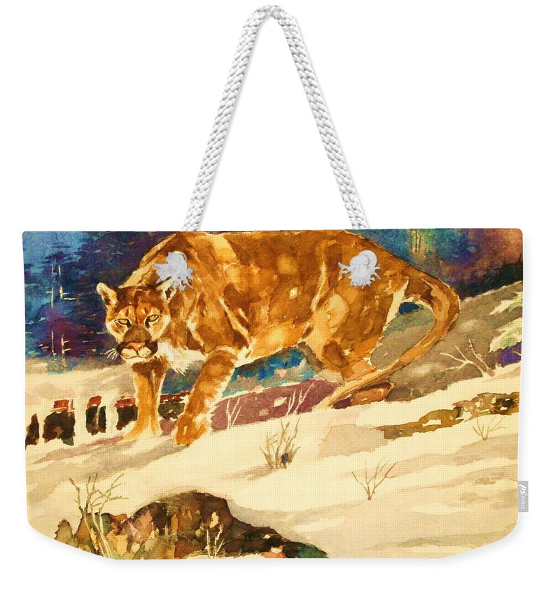 Cougar Weekender Tote Bag featuring the painting Cougar On The Prowl In Winerer by Al Brown