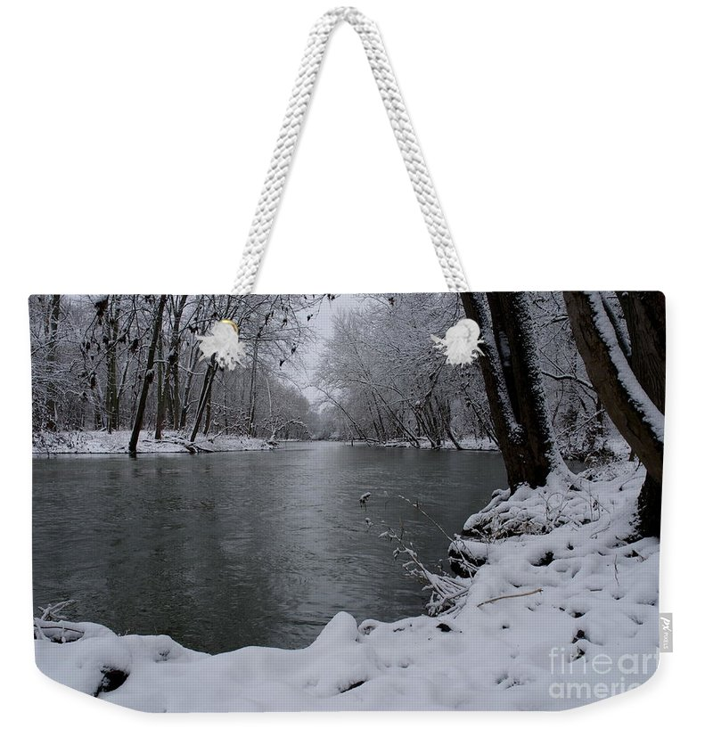 White River In Winter Weekender Tote Bag featuring the photograph Snowy River by Kitrina Arbuckle