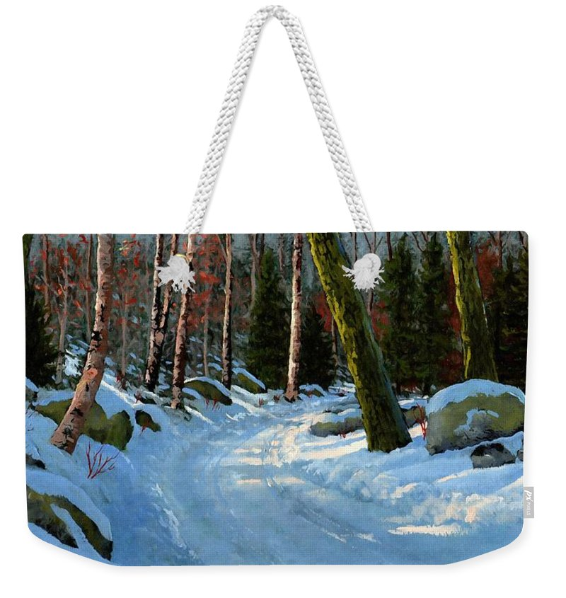 Landscape Weekender Tote Bag featuring the painting Winter Road by Frank Wilson