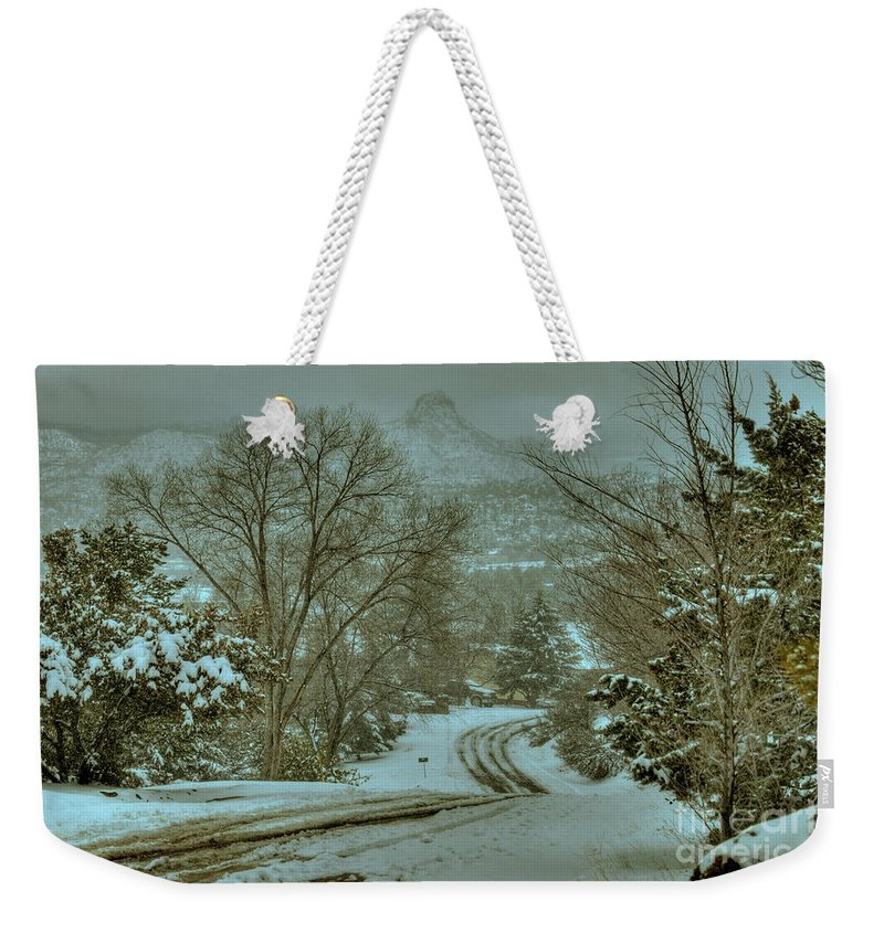 Diana Graves Photography Weekender Tote Bag featuring the photograph Winter Road by K D Graves