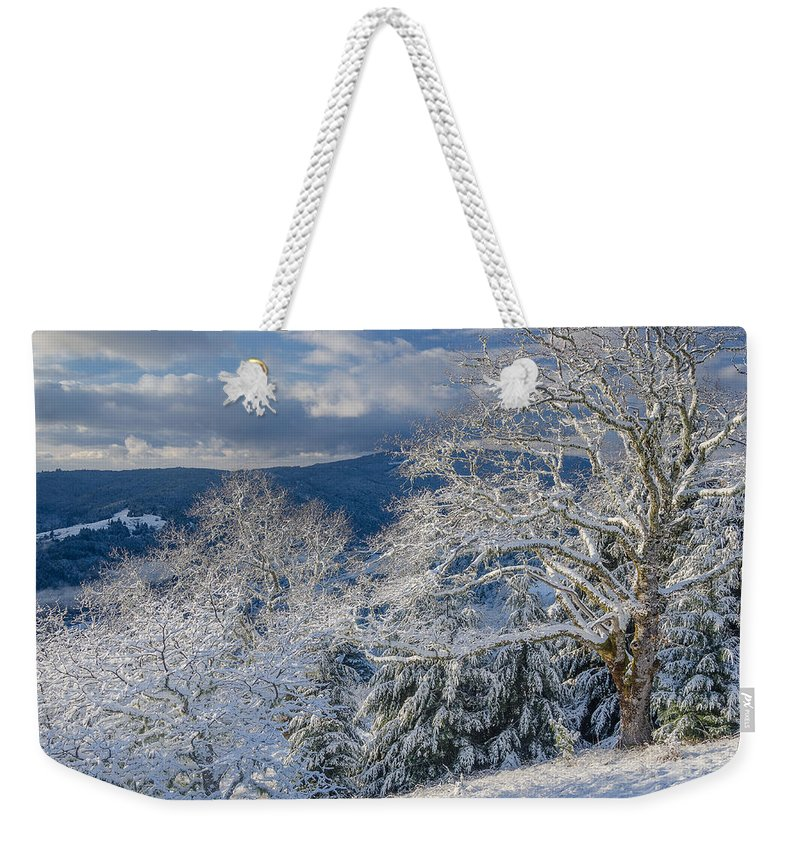 Dramatic Sky Weekender Tote Bag featuring the photograph Winter Scene At Berry Summit by Greg Nyquist