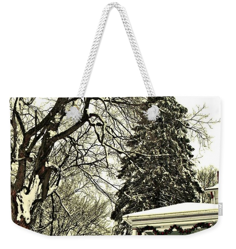 Porch Weekender Tote Bag featuring the photograph Winter Scene by Chris Berry