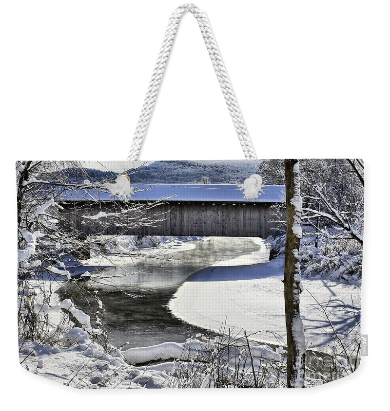 Brook Weekender Tote Bag featuring the photograph Winter Scene In Montgomery by Deborah Benoit