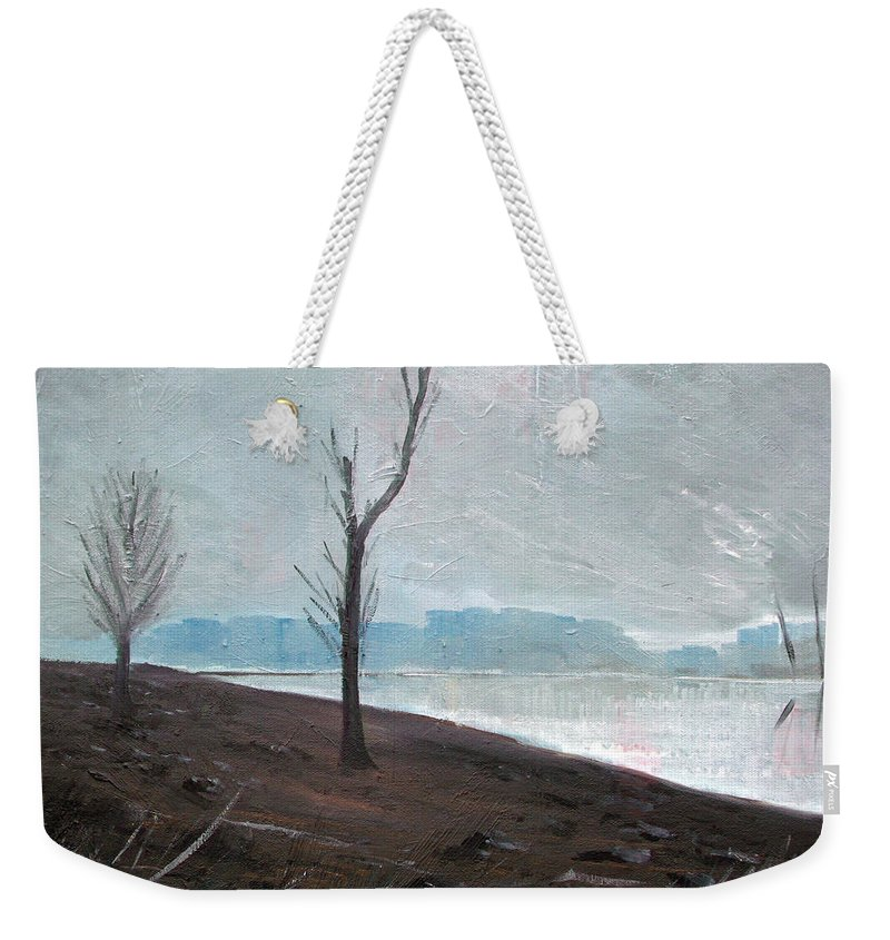 Landscape Weekender Tote Bag featuring the painting Winter by Sergey Bezhinets