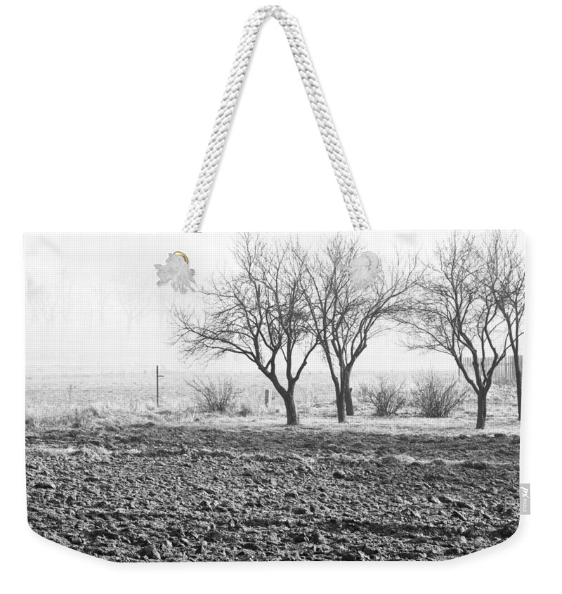 Black And White Weekender Tote Bag featuring the photograph Winter Solitude by Pati Photography