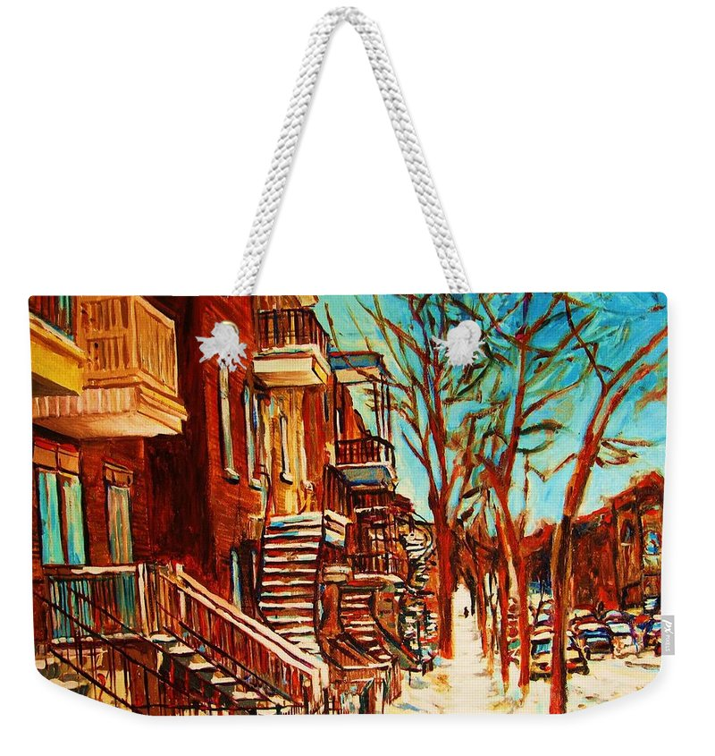 Verdun Paintings By Montreal Street Scene Artist Carole Spandau Weekender Tote Bag featuring the painting Winter Staircase by Carole Spandau