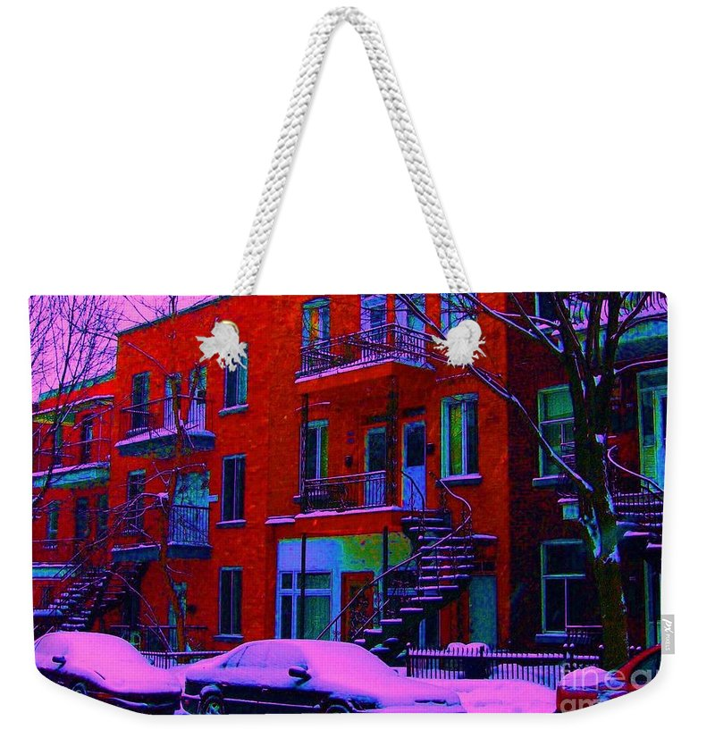 Montreal Weekender Tote Bag featuring the photograph Winter Staircases Two by Carole Spandau