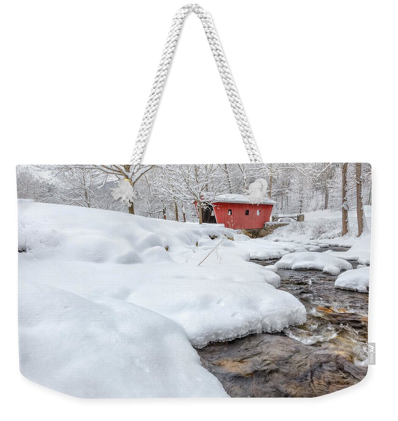 Covered Bridge Weekender Tote Bag featuring the photograph Winter Stream by Bill Wakeley
