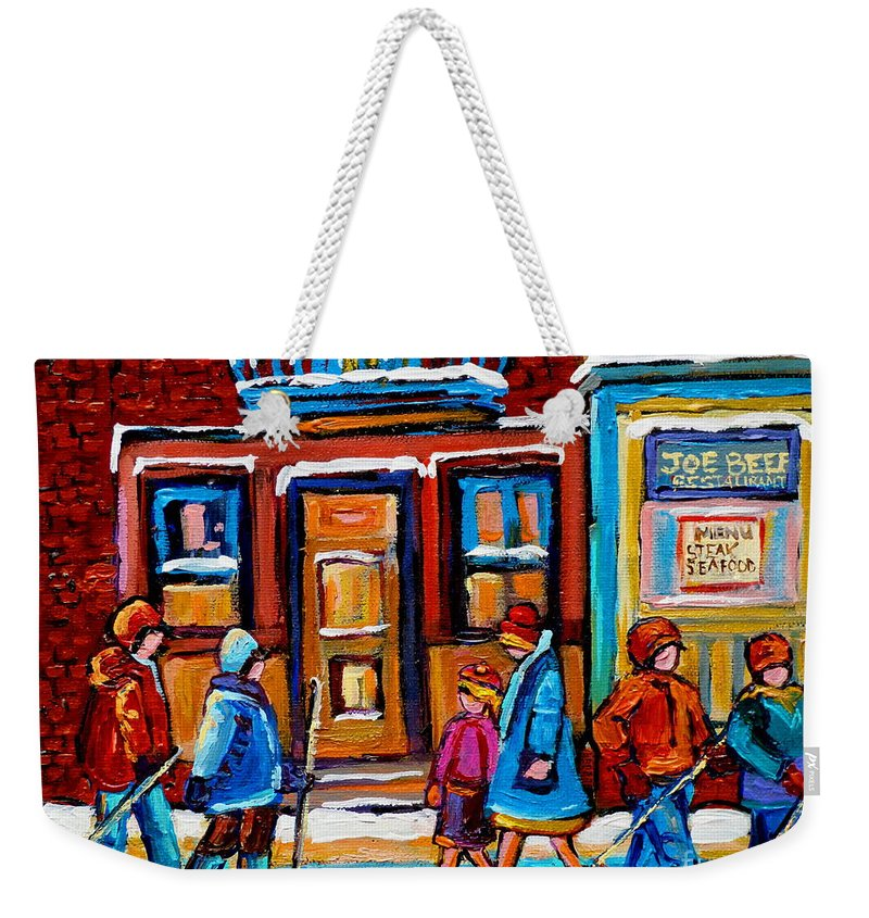 Montreal Weekender Tote Bag featuring the painting Winter Street In Saint Henri by Carole Spandau