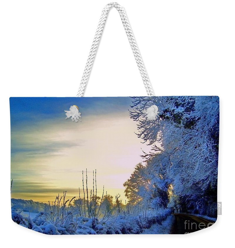 Winter Weekender Tote Bag featuring the photograph Winter Sunburst by Nina Ficur Feenan