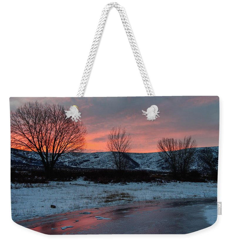 Sunrise Weekender Tote Bag featuring the photograph Winter Sunrise by Chad Dutson