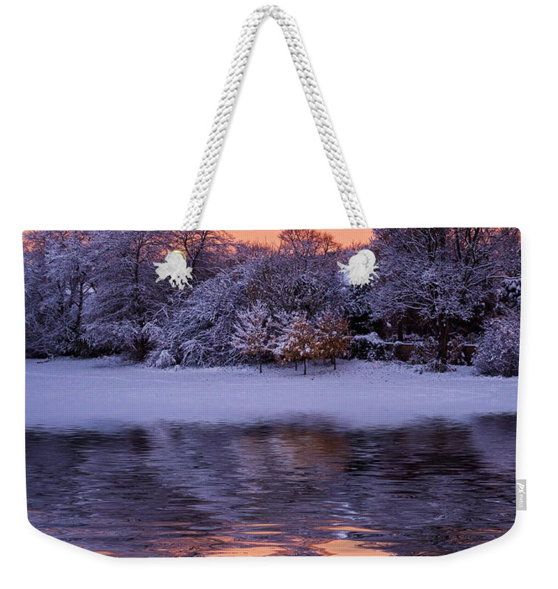 Snow Scene Weekender Tote Bag featuring the photograph Winter Sunrise by David Pringle