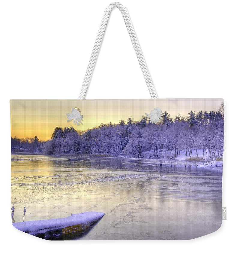 Winter Weekender Tote Bag featuring the photograph Winter Sunrise Ipswich River by David Stone