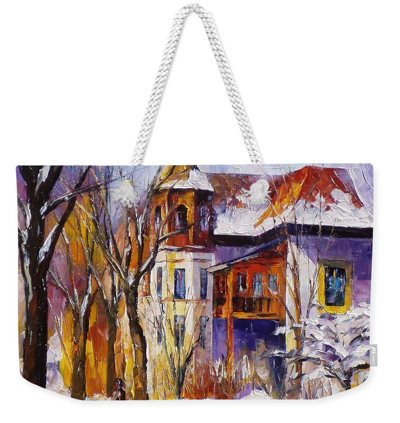 Oil Paintings Weekender Tote Bag featuring the painting Winter Town - Palette Knife Oil Painting On Canvas By Leonid Afremov by Leonid Afremov