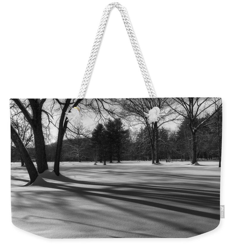 Black And White Weekender Tote Bag featuring the photograph Winter Trees by Bill Wakeley