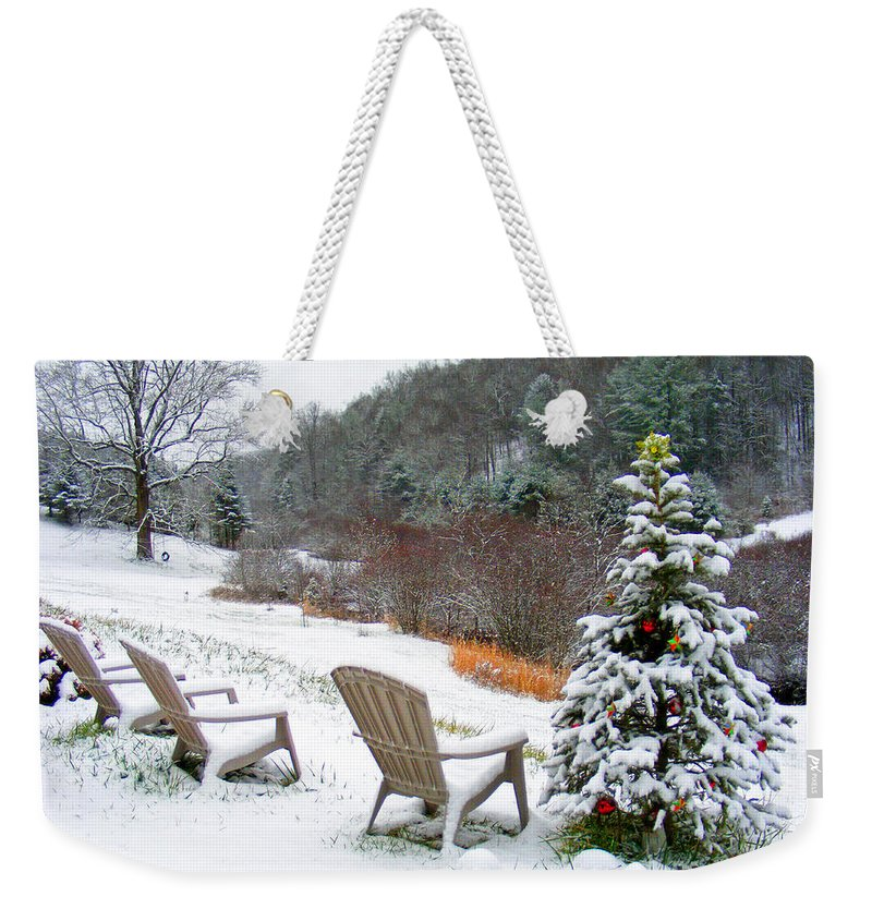 Winter Weekender Tote Bag featuring the photograph Winter Valley Chairs 2 by Duane McCullough