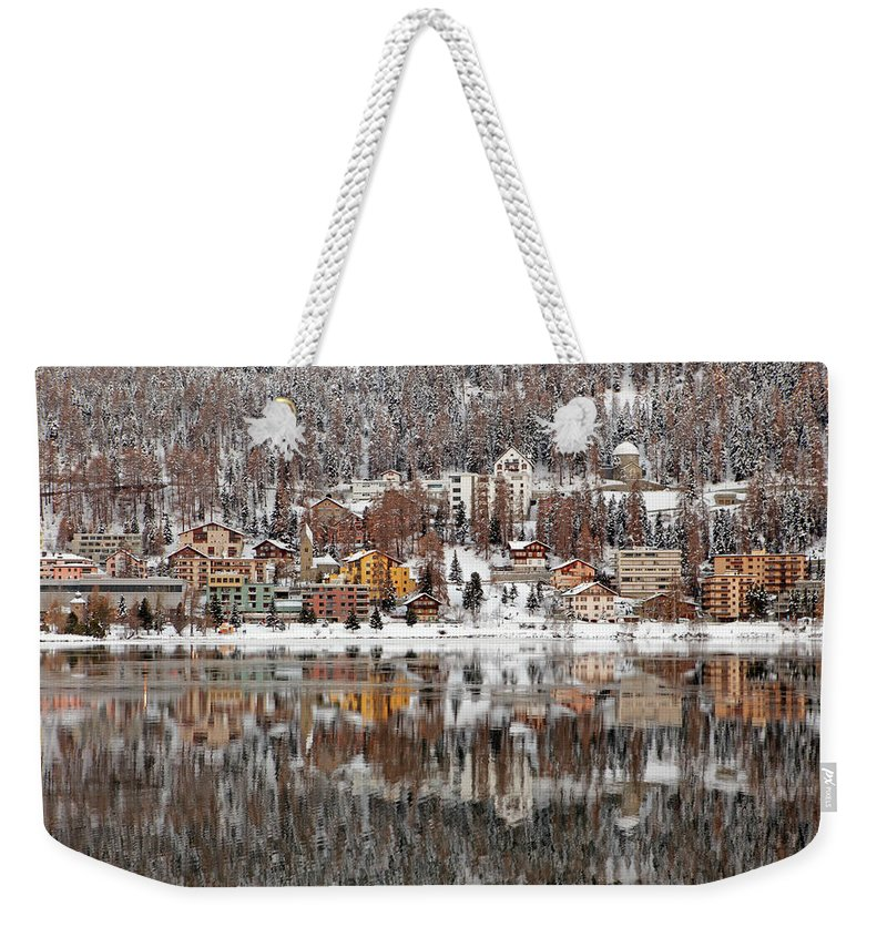 Holiday Weekender Tote Bag featuring the photograph Winter View Of Saint Moritz by Massimo Pizzotti