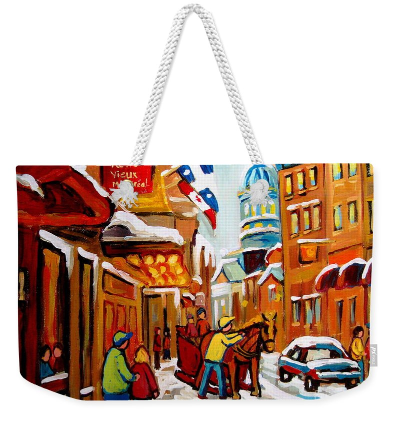 Montreal Weekender Tote Bag featuring the painting Winter Walk Montreal by Carole Spandau