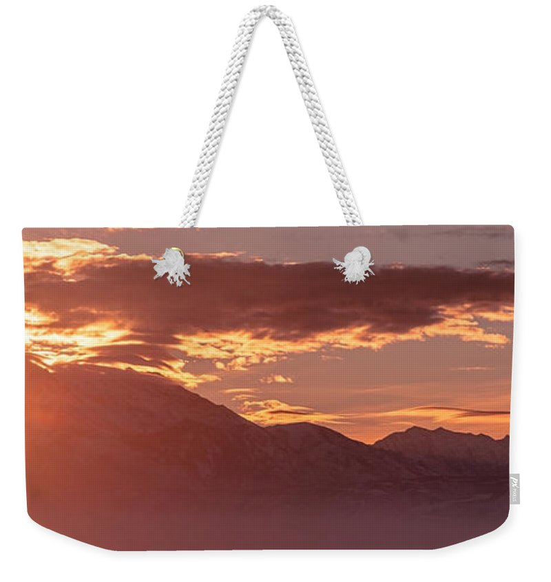 Wasatch Weekender Tote Bag featuring the photograph Winter Wasatch Daybreak by Chad Dutson