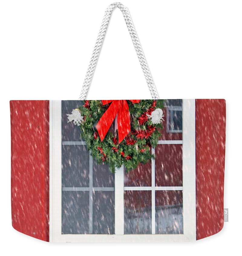 Wreath Weekender Tote Bag featuring the photograph Winter Window - 1 by Nikolyn McDonald