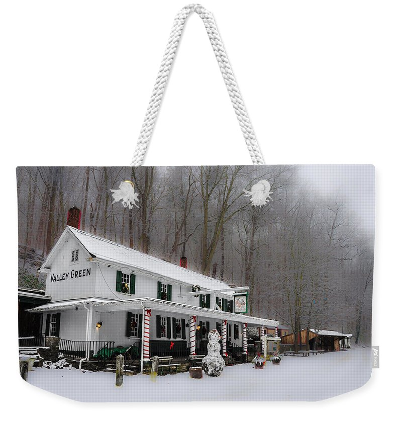 Winter Weekender Tote Bag featuring the photograph Winter Wonderland At The Valley Green Inn by Bill Cannon
