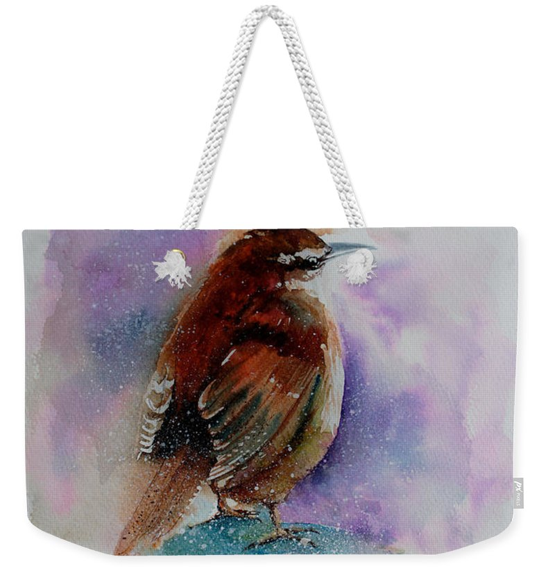 Painting Weekender Tote Bag featuring the painting Winter Wren by Isabel Salvador