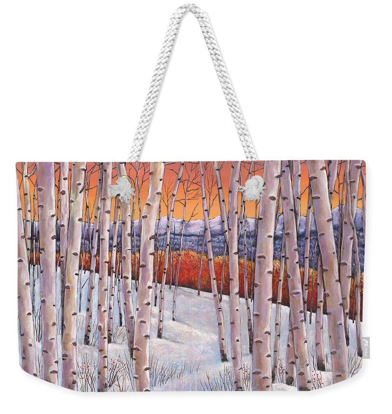 Autumn Aspen Weekender Tote Bag featuring the painting Winter's Dream by Johnathan Harris