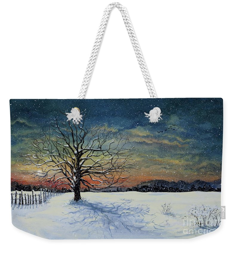 Oak Tree Weekender Tote Bag featuring the painting Winters Eve by Mary Palmer