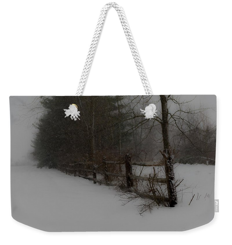Fence Weekender Tote Bag featuring the photograph Winter's Fence by Scott Hafer
