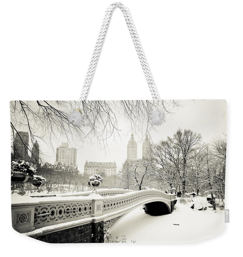 ccd96ee4ec Winter's Touch - Bow Bridge - Central Park - New York City Weekender Tote  Bag