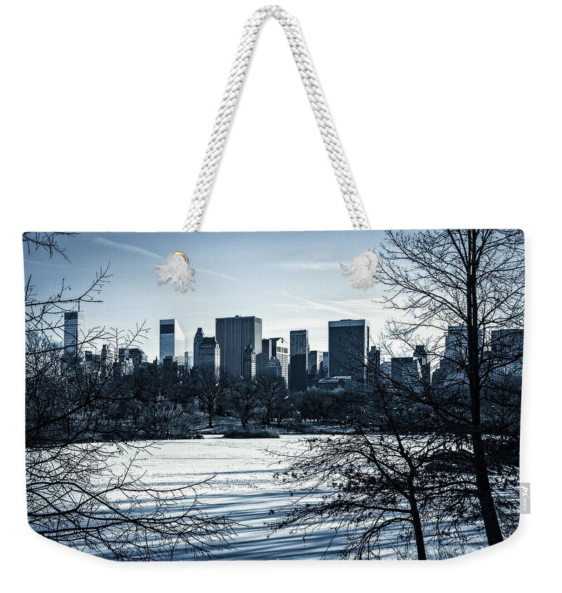 Winter Weekender Tote Bag featuring the photograph Winter's Touch - Manhattan by Madeline Ellis