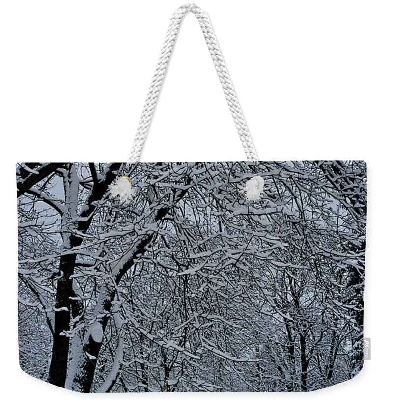 Shoveling Weekender Tote Bag featuring the photograph Winter's Work by Joseph Yarbrough