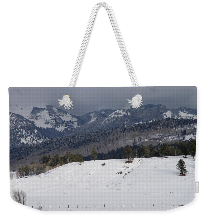 Nature Weekender Tote Bag featuring the photograph Winterscape by Noa Mohlabane