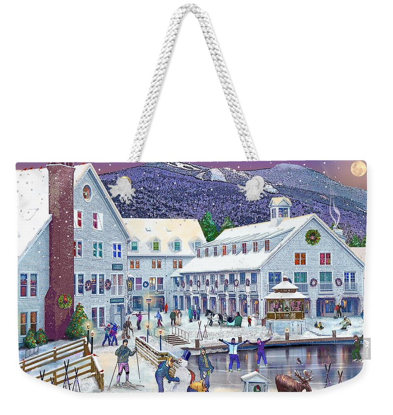 Waterville Valley New Hampshire Weekender Tote Bag featuring the digital art Wintertime At Waterville Valley New Hampshire by Nancy Griswold