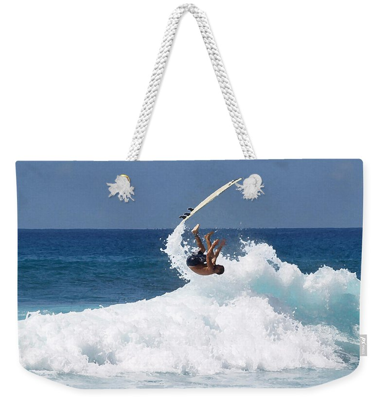 Surfing Weekender Tote Bag featuring the photograph Wipe Out by Athala Carole Bruckner