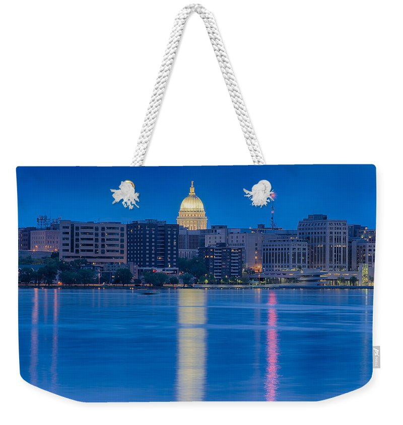 Capitol Weekender Tote Bag featuring the photograph Wisconsin Capitol Reflection by Sebastian Musial
