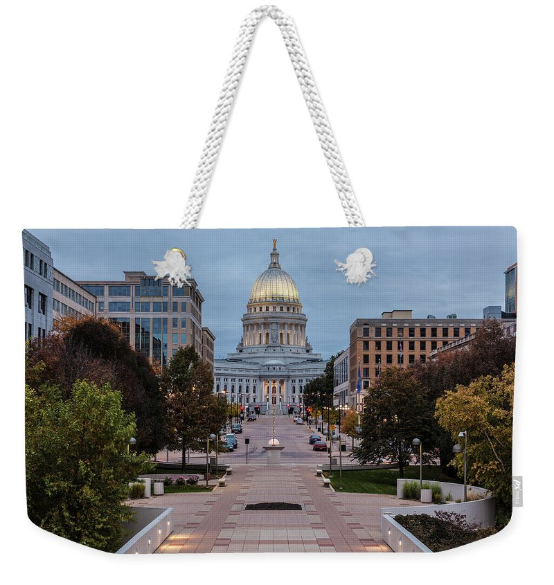 Land Vehicle Weekender Tote Bag featuring the photograph Wisconsin State Capitol Building by Kenneth C. Zirkel
