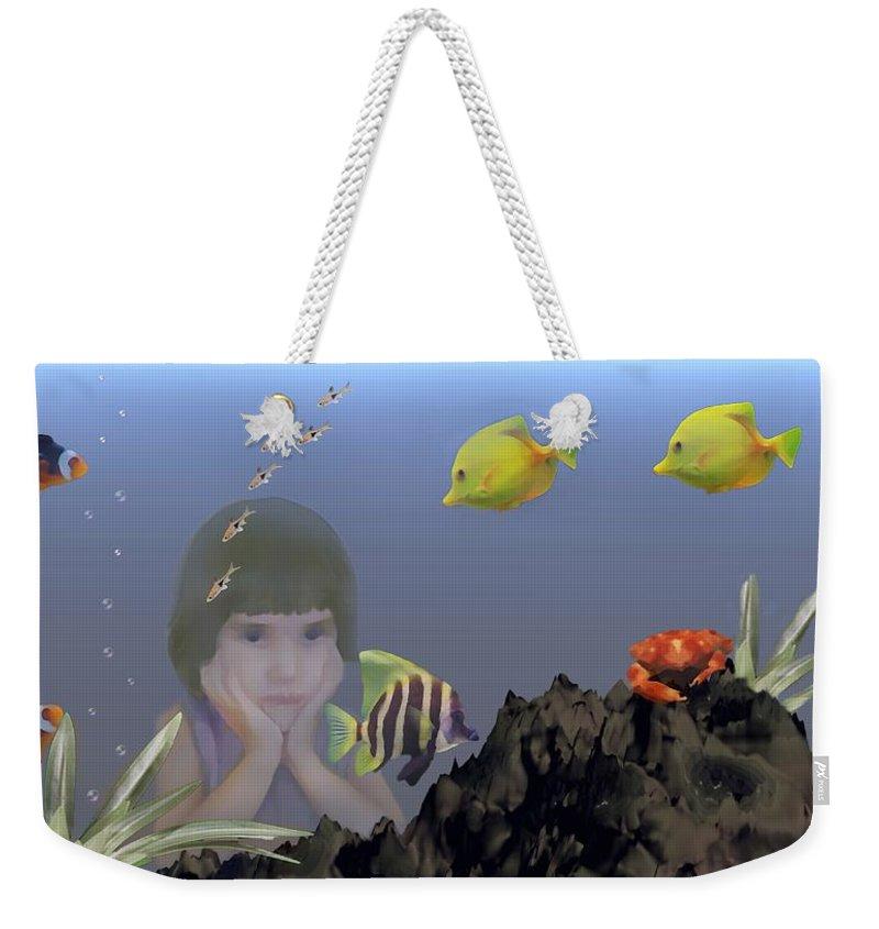 Fish Weekender Tote Bag featuring the digital art Wish I Could Swim by David Dehner