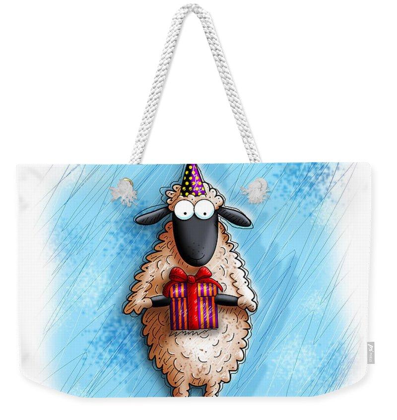 Christian Greeting Card Weekender Tote Bag featuring the digital art Wishing Ewe by Gary Bodnar